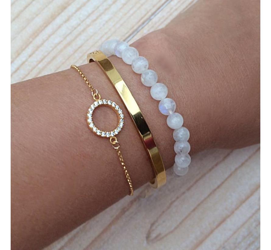 Armband vermeil Goud cirkel zirkonia
