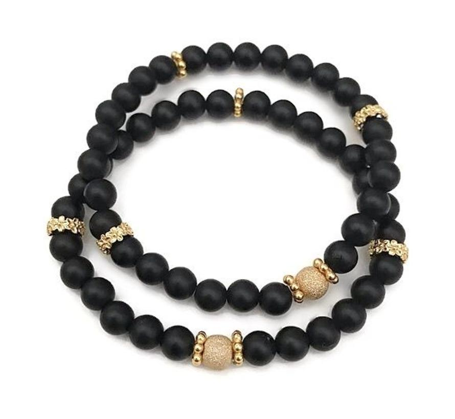 Armband Iced Jaspis Zwart Vermeil goud