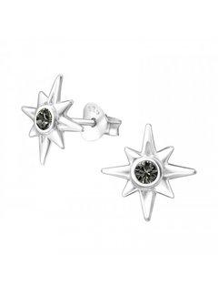 Kywi Jewelry Oorsteker Ishtar Black Swarovski 925 zilver