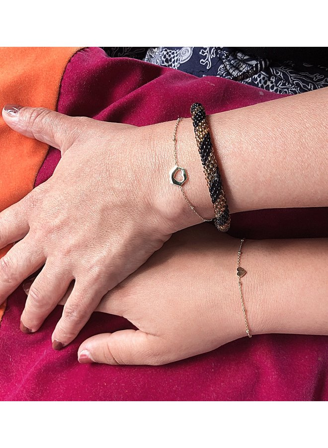 Armband Hart uit Hart moeder dochter -RVS goud of zilver