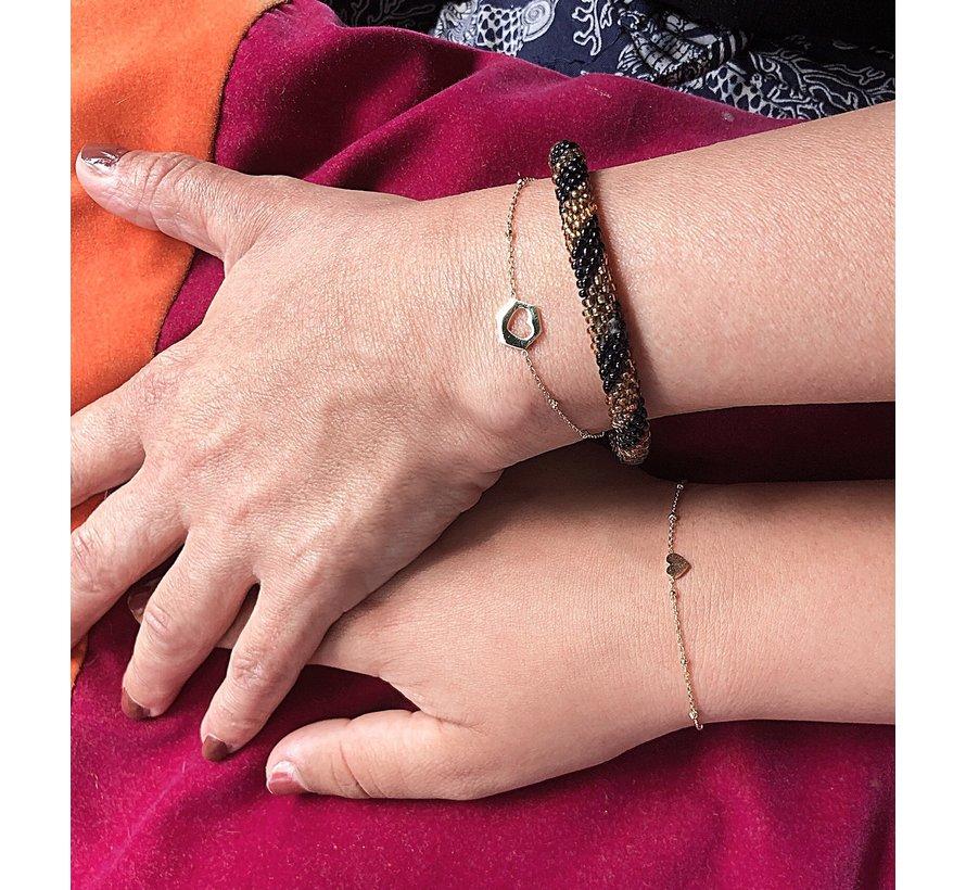 Armband Hart uit Hart voor Sisters -RVS goud of zilver