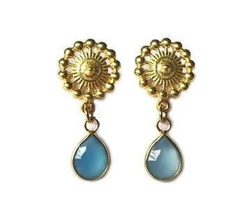 Kywi Jewelry Oorsteker Chalcedoon Blauw 14k verguld