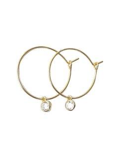 Kywi Jewelry Oorbel zirkonia Goud 25mm