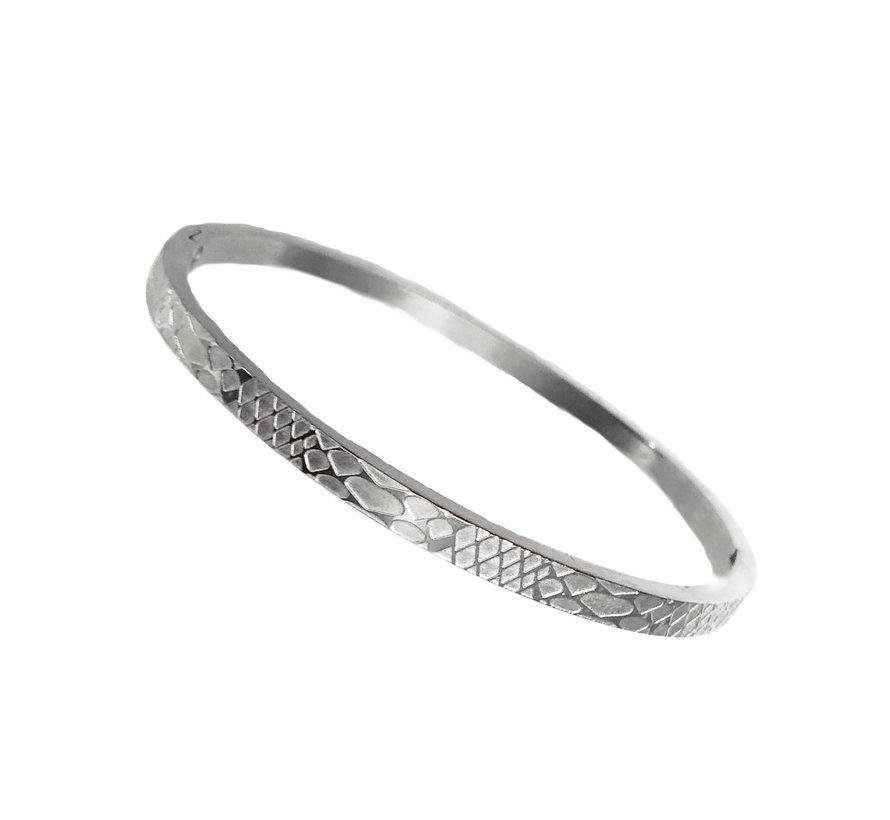 Armband Bangle- Slangenprint- RVS
