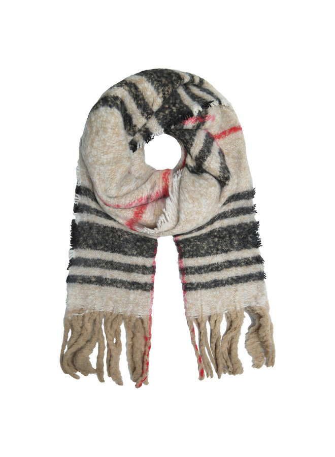 Sjaal beige ruit winterwarm