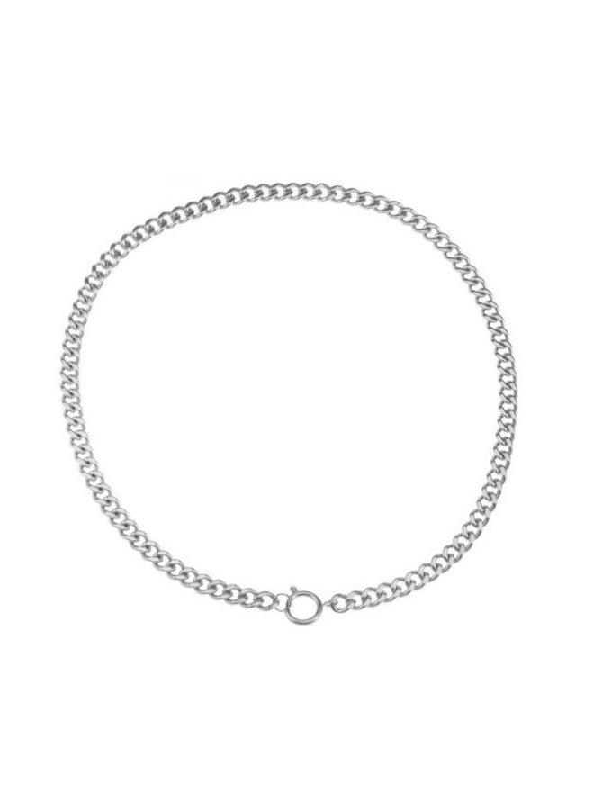 Ketting platte schakel zilver steel- By Jam