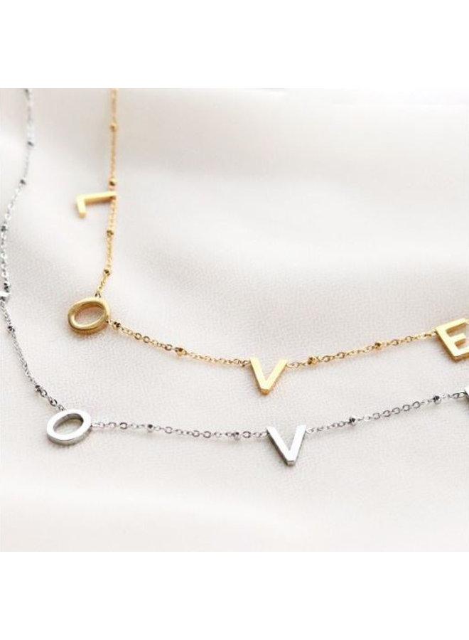 Ketting LOVE - goud of zilver steel