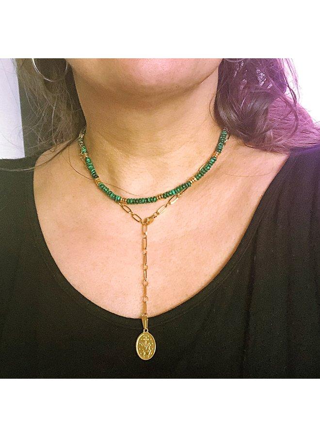 Kralen Choker natuursteen groen Goud - By Jam