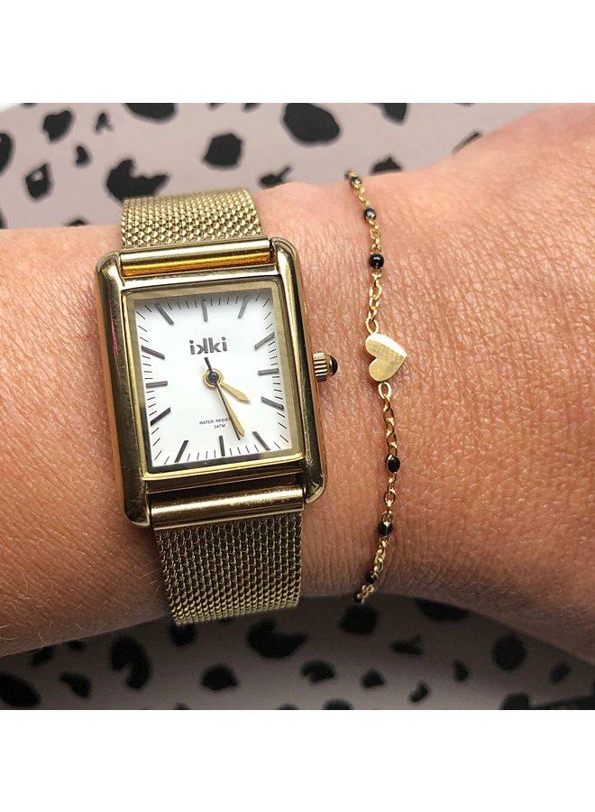 Armband moeder dochter hartje zwarte kraaltjes- goud of zilver