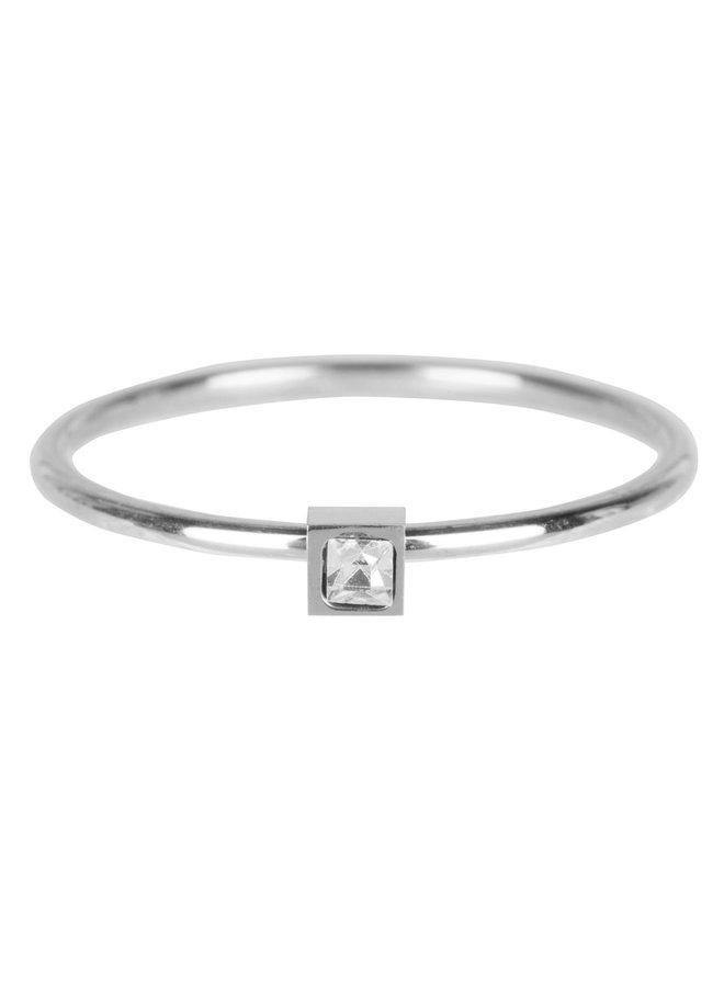 Stylish Square Shiny Steel Crystal CZ R500