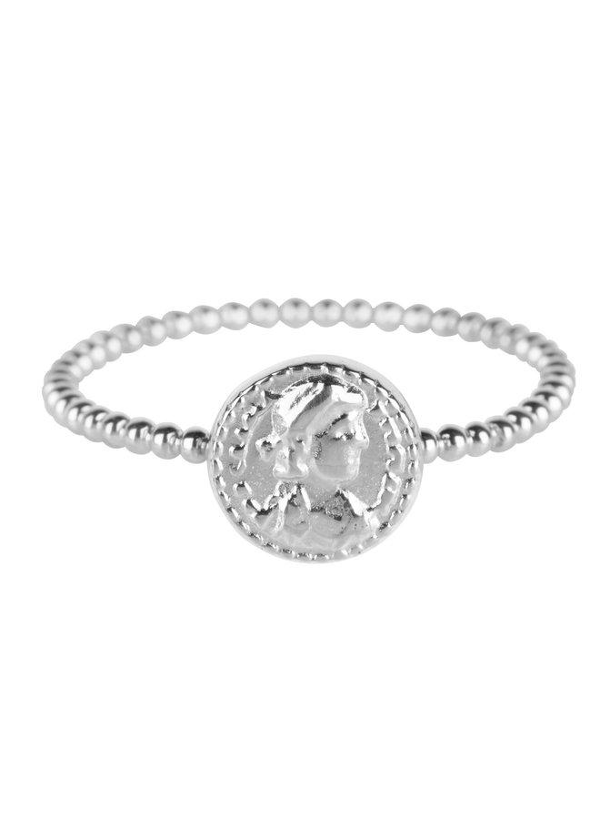 Ring Shiny Steel Roman Coin R624