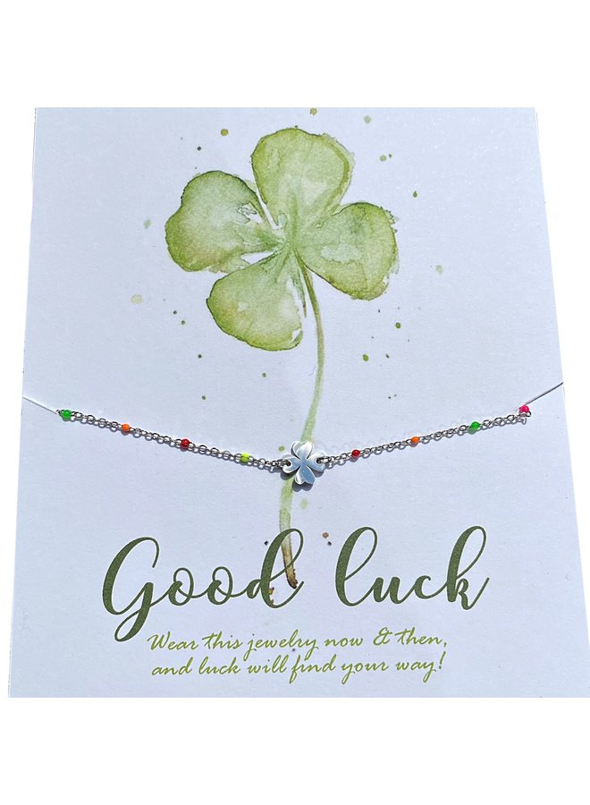 Armband hartje kaart Good Luck Zilver