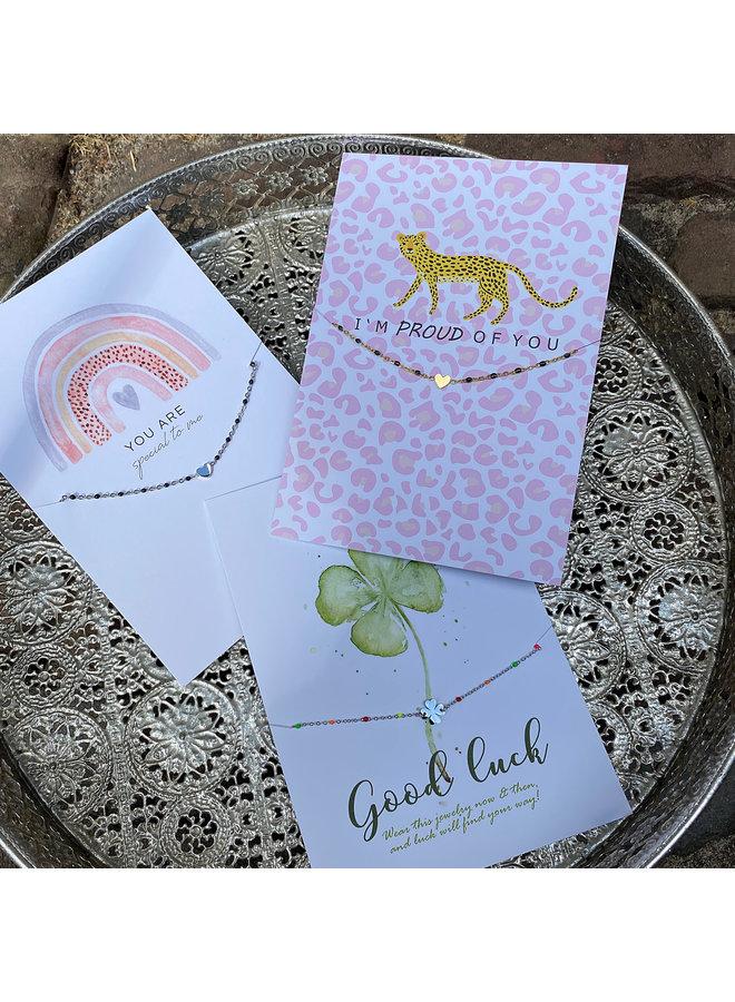 Armband hartje kaart Good Luck - zilver steel