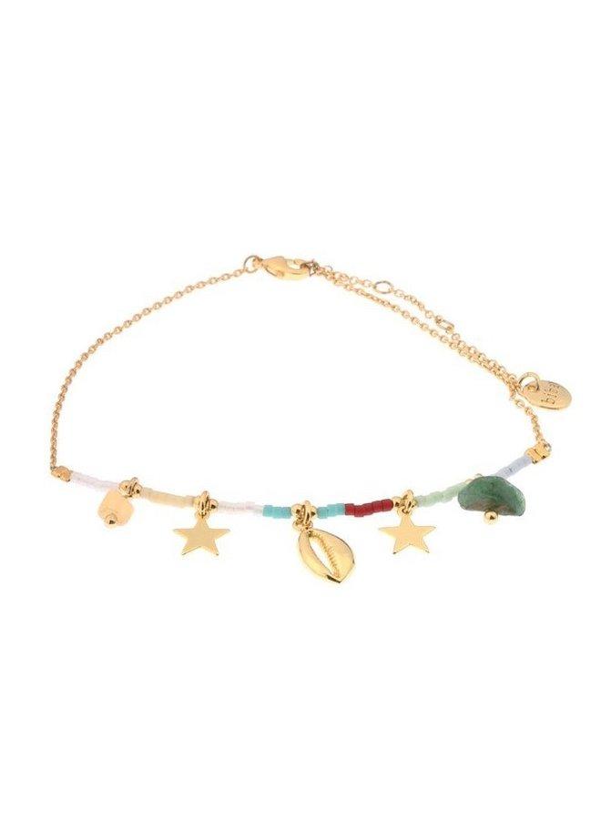 Enkelbandje Kauri schelp multicolor Goud-Biba