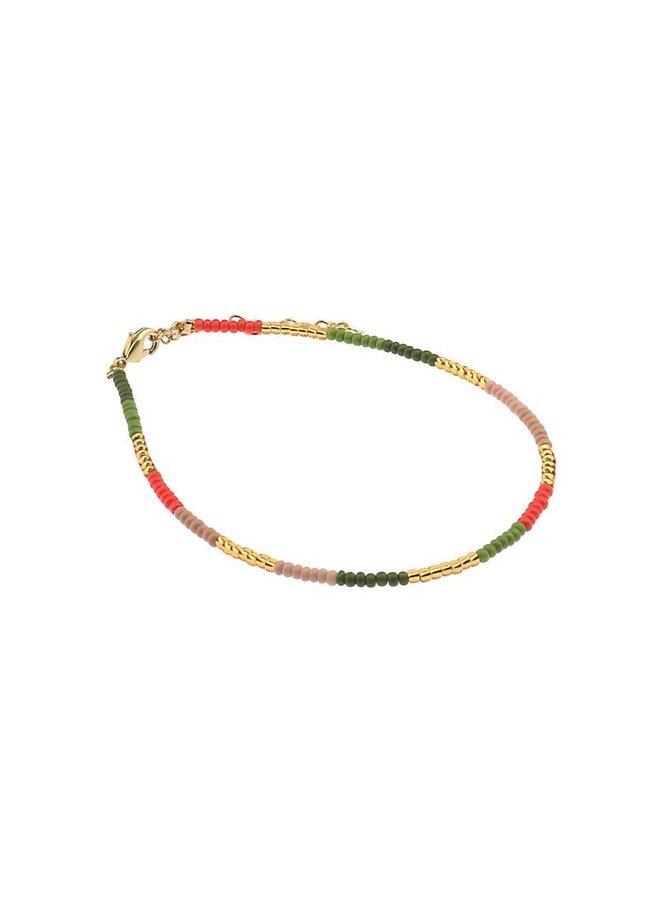 Enkelbandje Biba gekleurde kraaltjes goud - Kies je kleur!