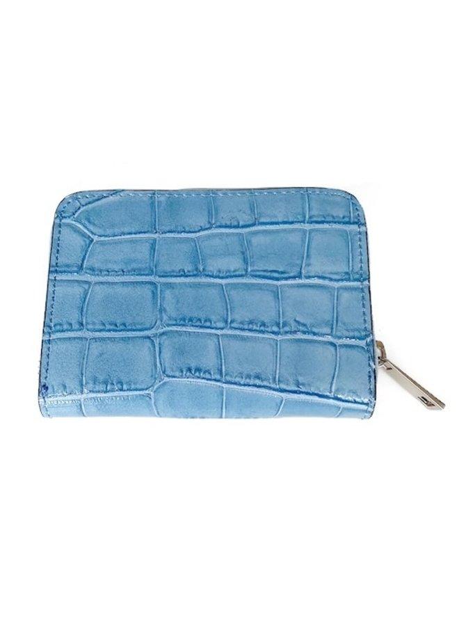 Leren portemonnee blauw Croco