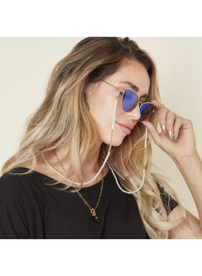Zonnebrillenkoord Parels met goudkleur