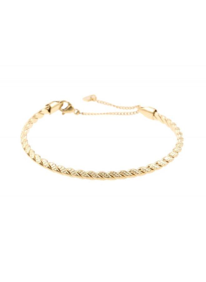 Armband bangle Kabel goud steel- By Jam