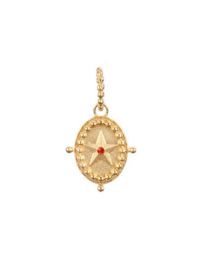 Bedel ketting ovaal ster rood goud steel- By Jam