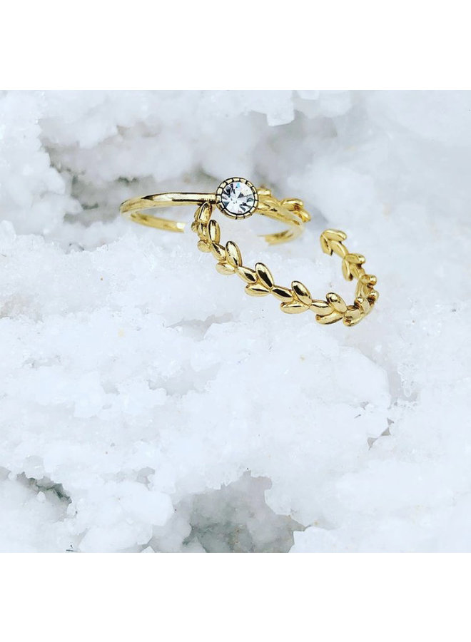 Ring Leafs Goldplated 925 zilver Onesize - By Jam