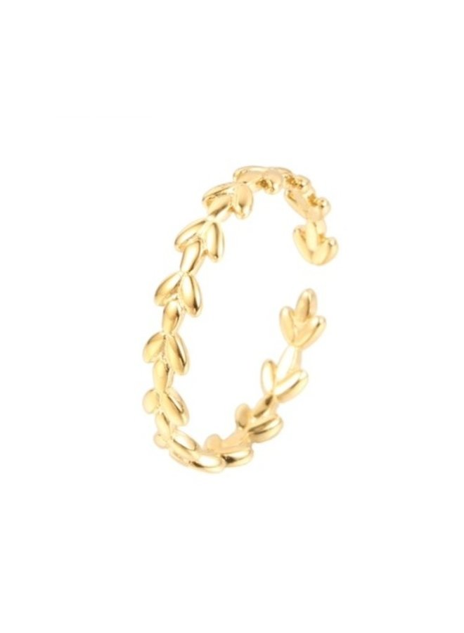 Ring Leafs Goldplated 925 zilver - By Jam