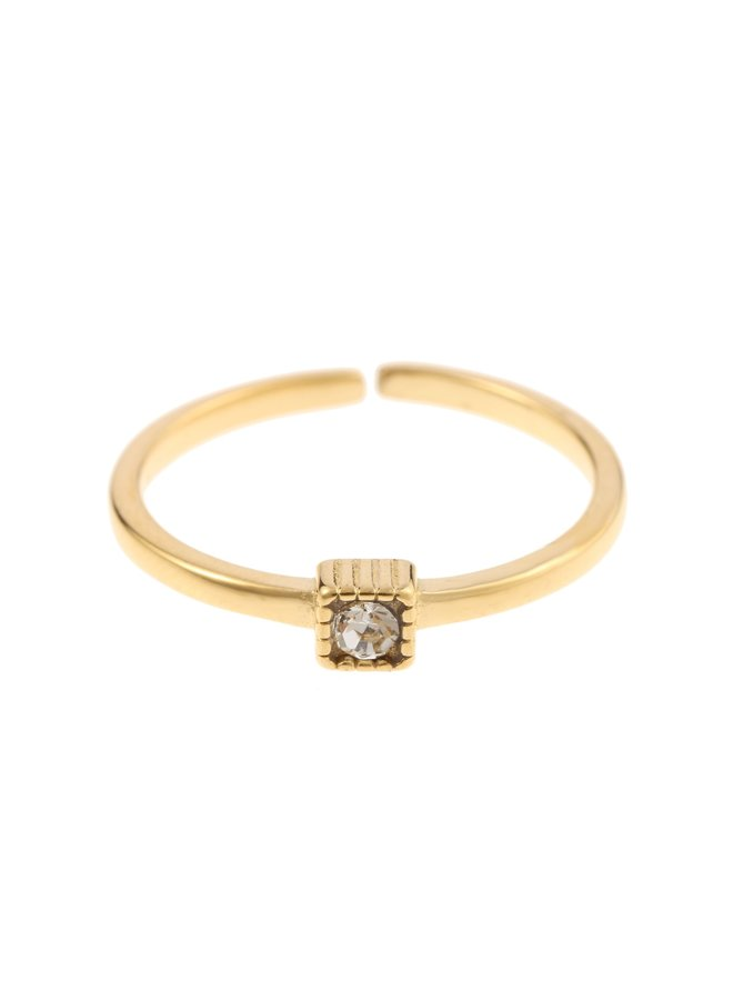 Ring Grey Square Goldplated 925 zilver - By Jam