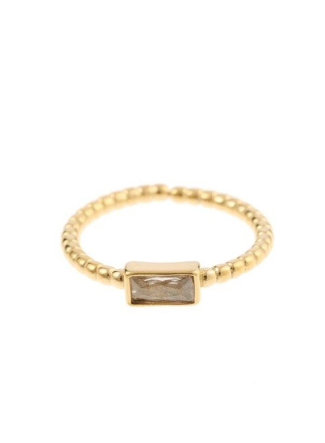 Ring Grey Rectangle Goldplated 925 zilver - By Jam