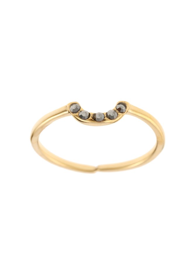 Ring Grey Bow Goldplated 925 zilver - By Jam