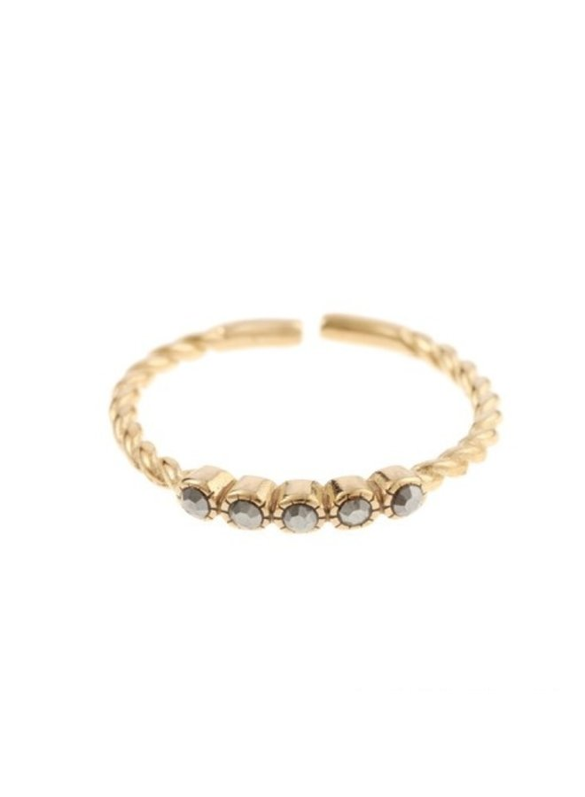 Ring Grey Dots Goldplated 925 zilver - By Jam