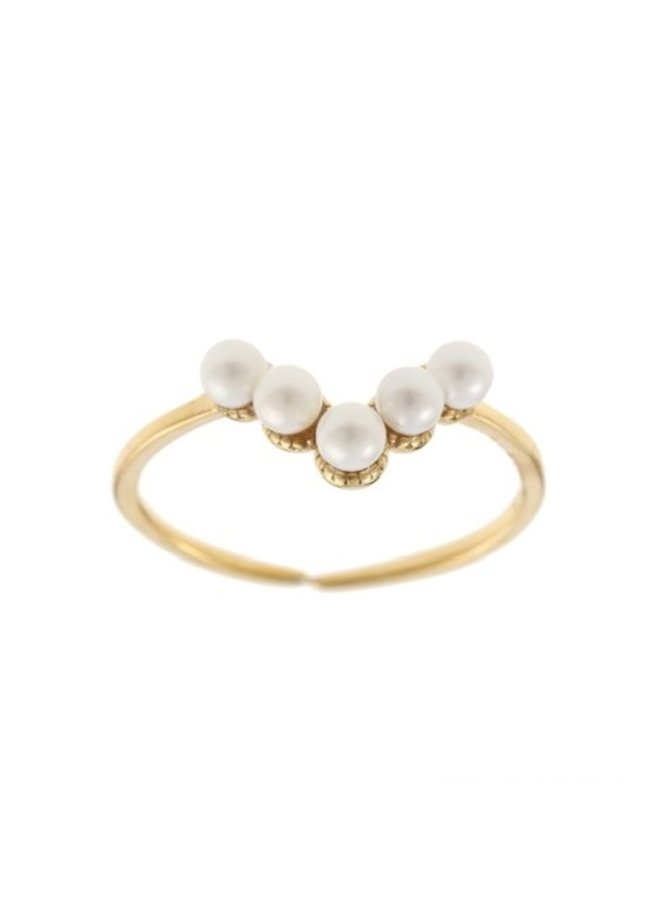 Ring Pearls V Goldplated 925 zilver - By Jam