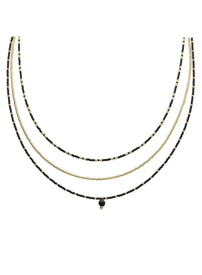 Kralen Choker 3 in 1 Zwart-Goud Indian Style
