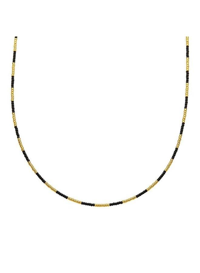 Kralen Choker Zwart-Goud Indian Style