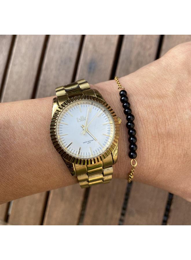 Armband zwarte Onyx goud steel