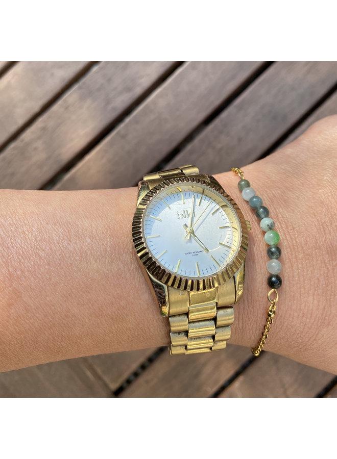 Armband groene Mosagaat goud steel
