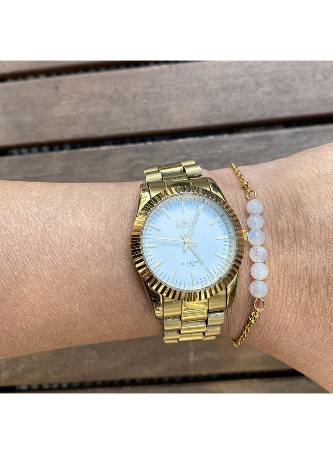 Armband witte Maansteen goud steel