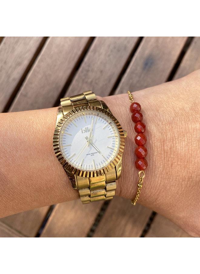 Armband rode Carneool goud steel