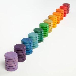 Grapat Grapat Set van 72 regenboog munten