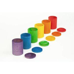 Grapat Grapat Set van 6 houten cups met deksel