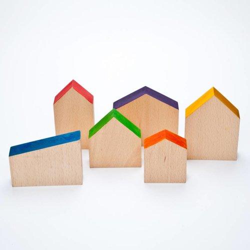 Grapat Grapat Set van 6 houten huisjes