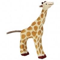 Holztiger Giraffe klein drinkend