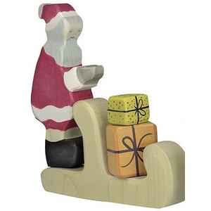 Holztiger Holztiger Kerstset kerstman, arreslee en ree