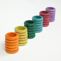 Grapat Set van 36 ringen in gedekte kleuren