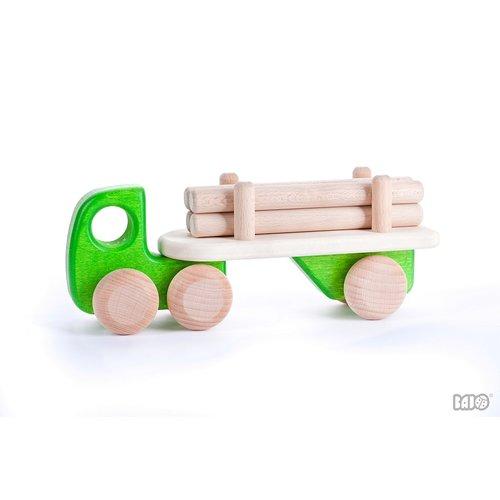 Bajo Houten Speelgoed Bajo Vrachtwagen met boomstammen