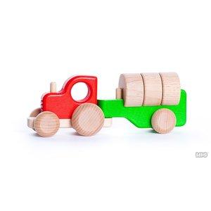 Bajo Houten Speelgoed Bajo Tractor met aanhanger met blokken