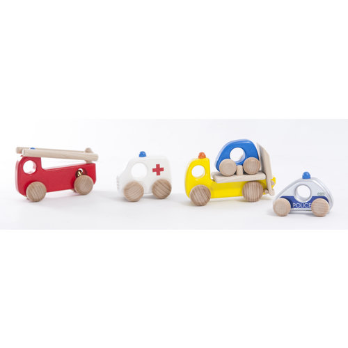 Bajo Houten Speelgoed Bajo Set van Politie, Brandweer, Ambulance en Wegenwacht