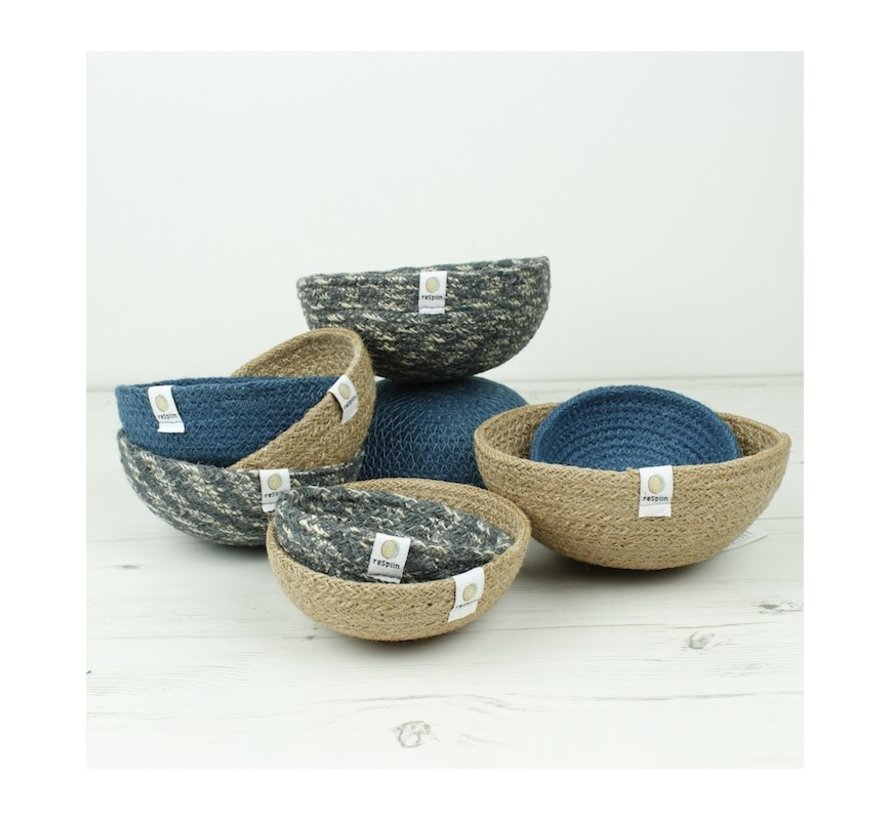 Respiin Set 3 jute mandjes Denim