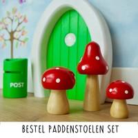 Droomdeurtjes set houten Paddenstoelen Rood