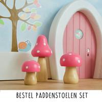 Droomdeurtjes set houten Paddenstoelen Roze