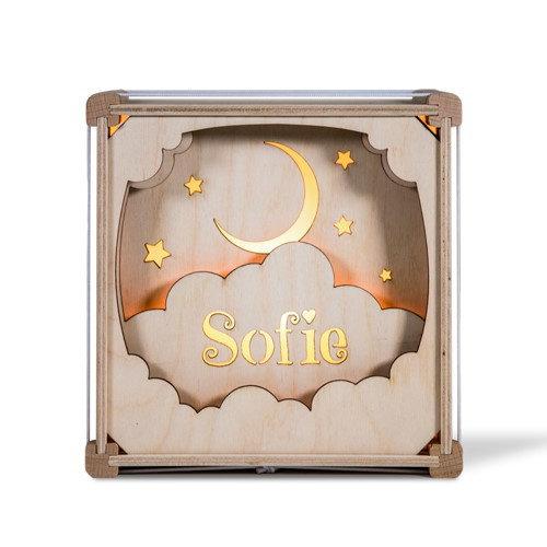 Houtlokael Houten lamp met eigen naam - In de Wolken