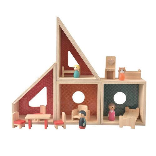 Heico lampen/ Egmont Toys Houten poppenhuis incl. poppen en meubels